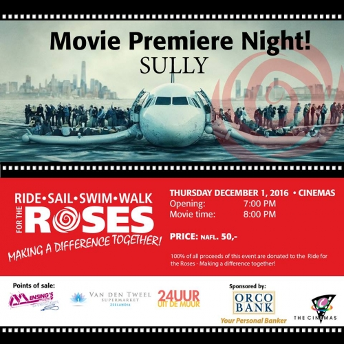 Première 'Sully' op 1 december in Cinemas  om fondsen te werven voor Ride for the Roses
